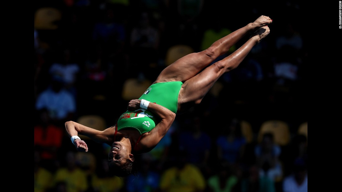 Mexican diver Paola Espinosa competes in the 10-meter platform semifinal.
