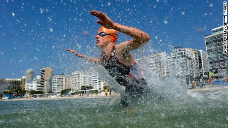 Jonathan Brownlee of Great Britain competes during the Men's Triathlon.