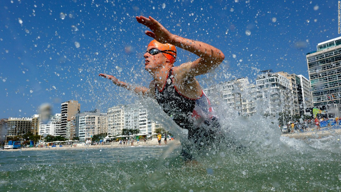 Jonathan Brownlee of Great Britain competes in the triathlon. He took home the silver medal. His brother Alistair won the gold.
