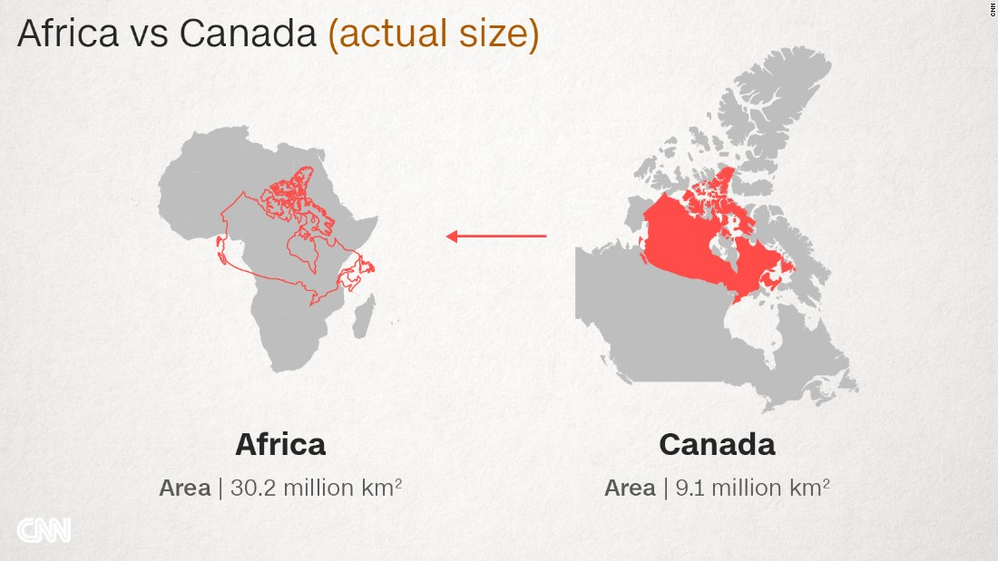 Why Do Western Maps Shrink Africa CNN - Canada map in world map