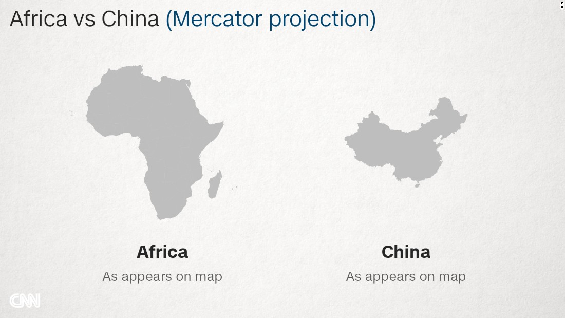 Why Do Western Maps Shrink Africa CNN - Map showing us and china inside africa