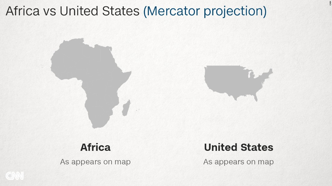 Why Do Western Maps Shrink Africa CNN - Map from us to african