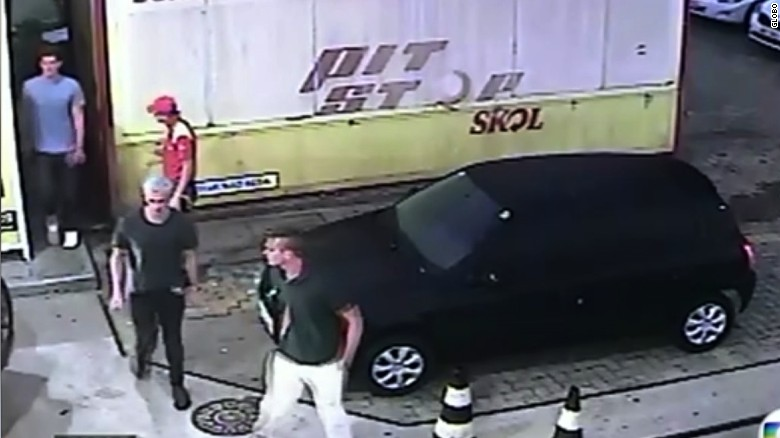 CCTV US swimmers at Gas Station