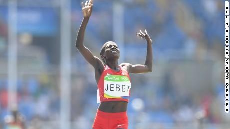 Jebet celebrates her 3000m steeplechase final win.