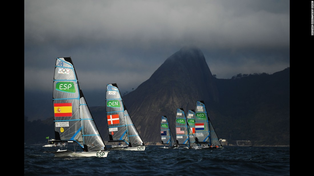 Sailors start the medal race for the women's 49er FX class.