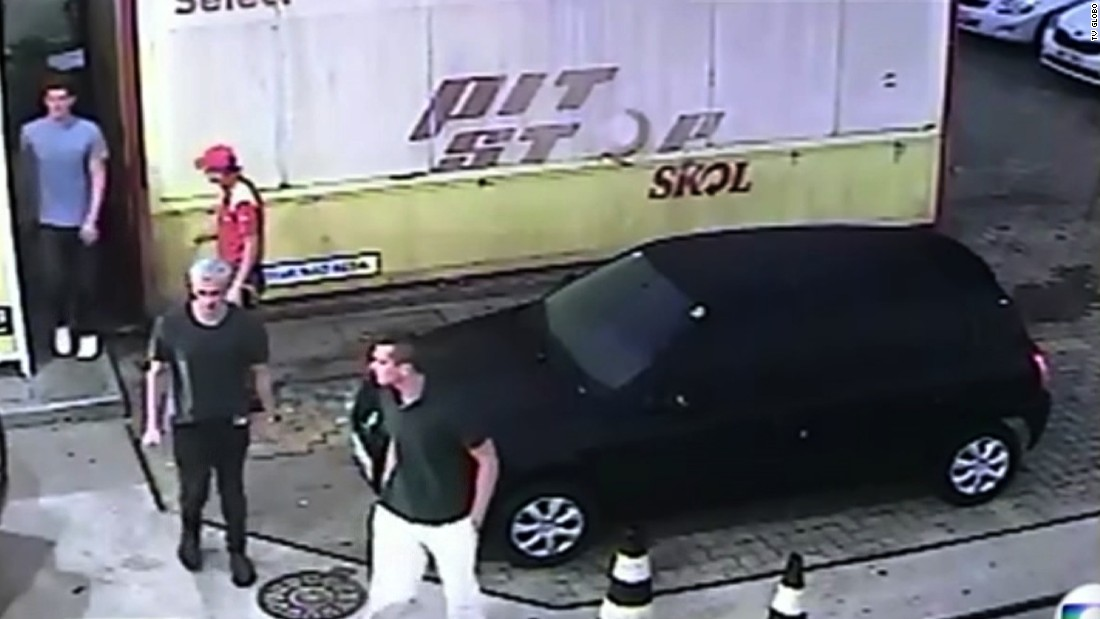 """Brazil's Globo media group released surveillance footage that shows U.S. swimmers Ryan Lochte, James Feigen, Jack Conger and Gunnar Bentz at a gas station in Rio de Janeiro early on Sunday, August 14. The Olympians said they were robbed at gunpoint there by men in police uniforms. Brazilian police <a href=""""http://www.cnn.com/2016/08/18/sport/us-swimmers-olympics-robbery-questions/index.html"""" target=""""_blank"""">said the athletes concocted a story</a> to cover up an act of vandalism that led to a confrontation with security guards."""