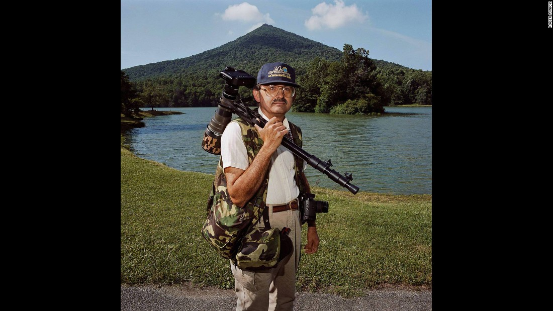 """<em>Birder at Peaks of Otter, Blue Ridge Parkway, Virginia, 1999. </em>This birder was """"so earnest and ready to go and it was early in the morning and he just couldn't wait,"""" Minick said."""