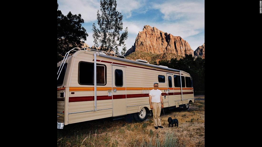 <em>Man with Dog in Front of Motorhome, Zion Canyon National Park, Utah, 1980. </em>At first, Minick resisted the idea of the Sightseer series because it was such a departure from the formal landscape photography he'd done in the past.