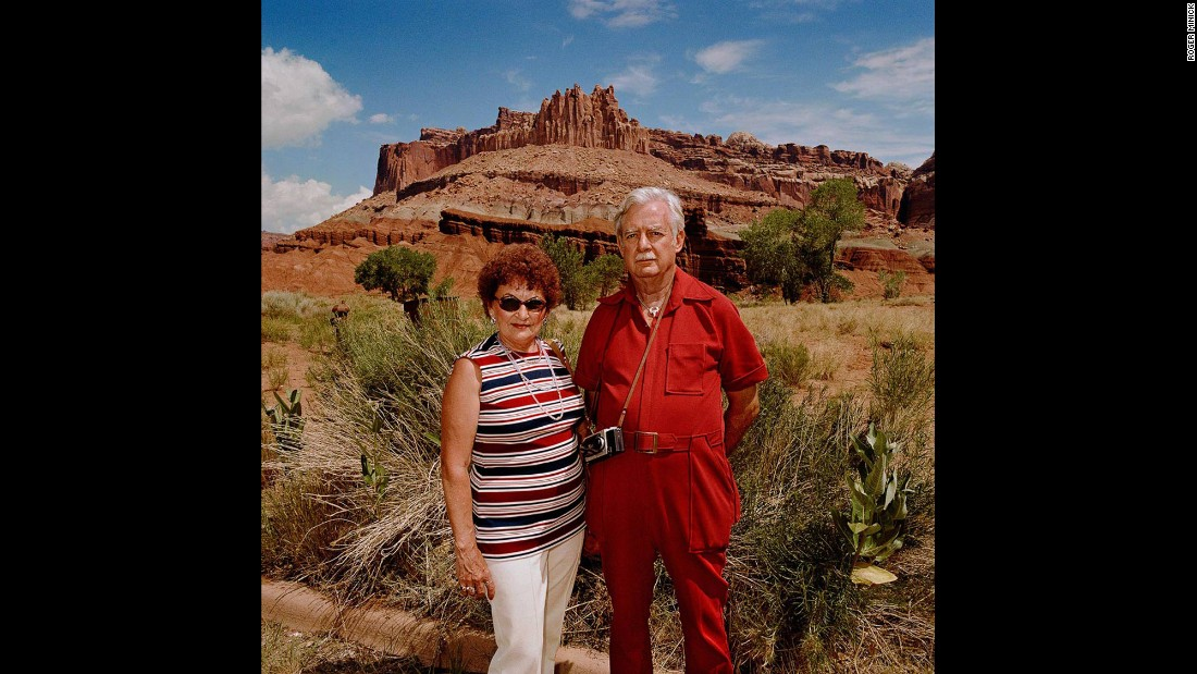 <em>Couple at Capitol Reef National Park, Utah, 1980.</em> American photographer Roger Minick started shooting his Sightseer series of color photos in 1980 as sort of a tourist time capsule.