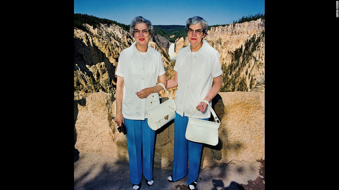 <em>Twins with Matching Outfits at Lower Falls Overlook, Yellowstone National Park, 1980. </em>Minick's interactions with his subjects were usually brief, but he tried to capture a range of expressions.