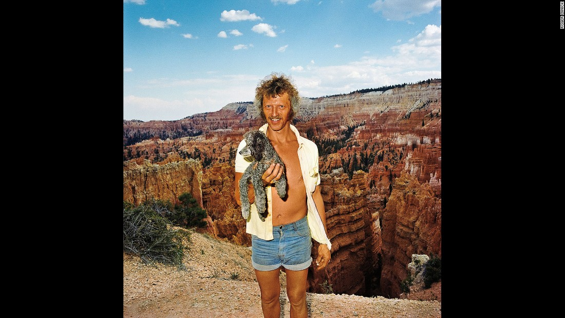 <em>Man with Poodle at Sunset Point, Bryce Canyon National Park, Utah, 1980.</em> Minick used an on-camera flash to get the right amount of fill light.