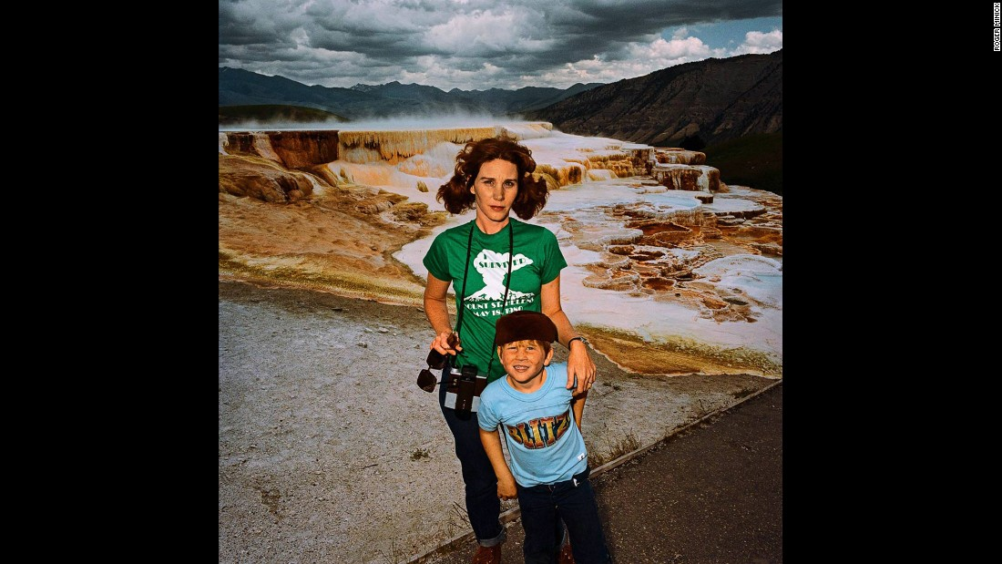 <em>Mother & Son at Minervas Terrace, Yellowstone National Park, Wyoming, 1980.</em> Minick was inspired by snapshots, but he wanted his series to present more than the typical bright smiles.