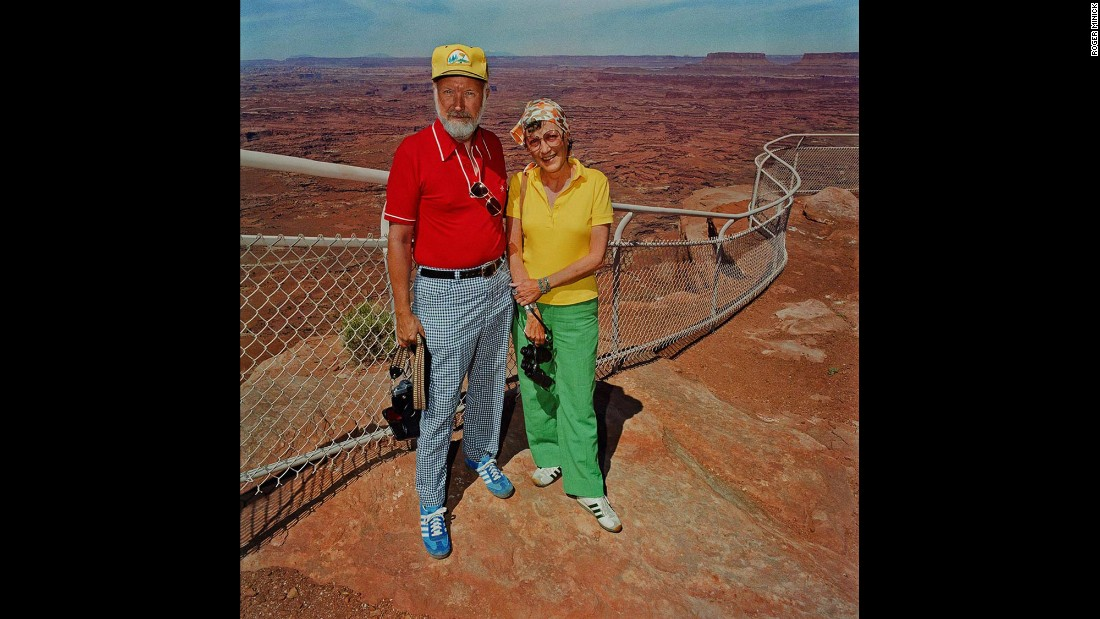 """<em>Couple at Canyonlands National Park, Utah, 1980. </em>The series """"addressed what people wore and how it juxtaposed with the background and the landscape,"""" Minick said."""