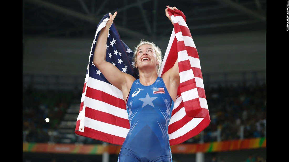 U.S. freestyle wrestler Helen Maroulis celebrates after winning gold in the 53-kilogram (117-pound) final.