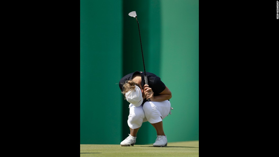 Norwegian golfer Marianne Skarpnord reacts to a missed birdie putt during the second round.