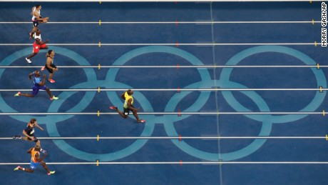 Bolt crossed the finish line well ahead of his rivals.