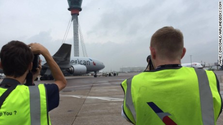 Aviation enthusiasts had a rare chance to visit a ramp at London's Heathrow on Friday for Aviation Day.