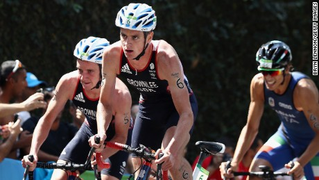 Alistair (left) and Jonathan were still close together as they took control in the 40km bike leg.