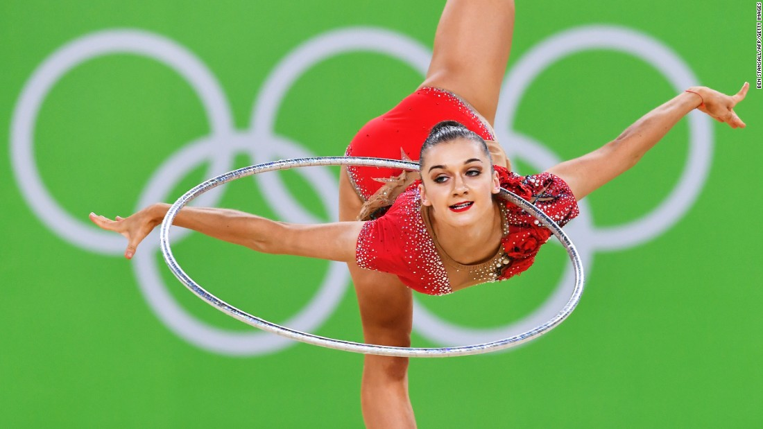 Ekaterina Volkova, a rhythmic gymnast from Finland, takes part in qualification for the individual all-around.