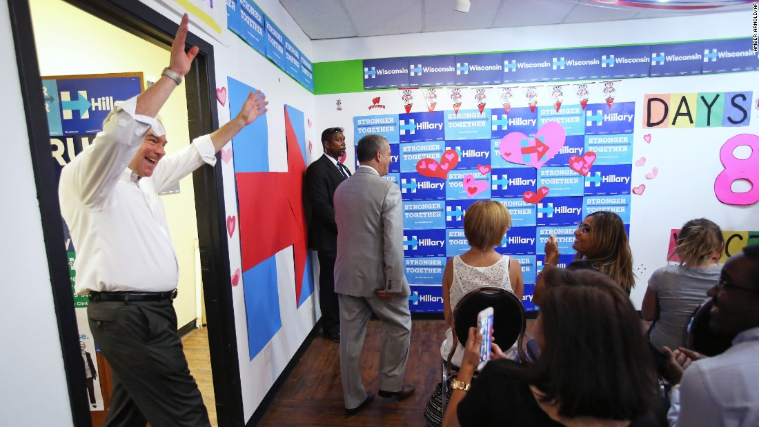 U.S. Sen. Tim Kaine, Hillary Clinton's running mate, visits the Democratic Party's campaign office in Madison, Wisconsin, on Tuesday, August 16.