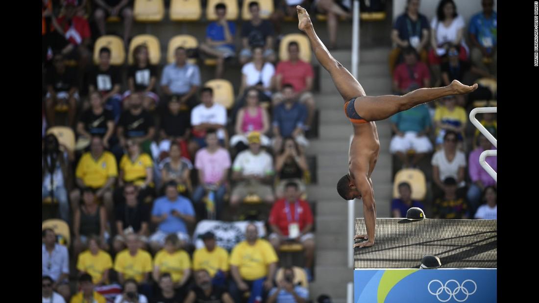 Venezuelan diver Robert Paez competes in the 10-meter platform event.