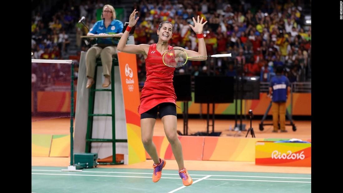 Spain's Carolina Marin won gold in badminton singles.