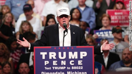 Republican presidential nominee Donald Trump speaks at a campaign rally August 19, 2016 in Dimondale, Michigan.