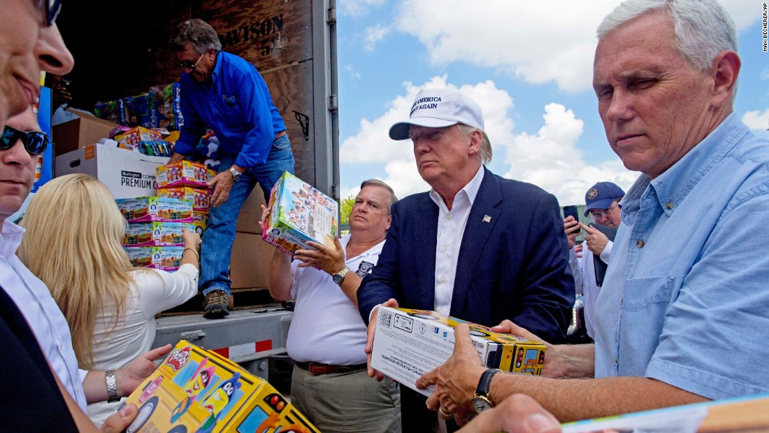 """Donald Trump and his running mate, Indiana Gov. Mike Pence, help unload supplies for flood victims <a href=""""http://www.cnn.com/2016/08/18/politics/trump-pence-headed-to-baton-rouge/"""" target=""""_blank"""">during a visit</a> to Gonzales, Louisiana, on Friday, August 19. The two were in the state following <a href=""""http://www.cnn.com/2016/08/16/us/louisiana-flooding-by-the-numbers/"""" target=""""_blank"""">mammoth flooding</a> in and around Baton Rouge."""