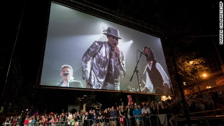 Tragically Hip singer Gord Downie is displayed on a screen during a public viewing of the band's final concert in Halifax, Nova Scotia.