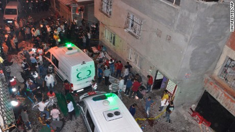 Ambulances at the scene of a bomb blast at a wedding party in Gaziantep, southeastern Turkey on Saturday.