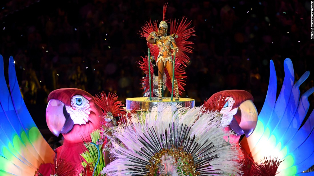 "Samba dancers perform in the ""Cidade Maravilhosa"" segment of the ceremony."