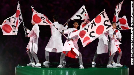 RIO DE JANEIRO, BRAZIL - AUGUST 21:  Dancers perform during the 'Love Sport Tokyo 2020' segment during the Closing Ceremony on Day 16 of the Rio 2016 Olympic Games at Maracana Stadium on August 21, 2016 in Rio de Janeiro, Brazil.  (Photo by David Ramos/Getty Images)