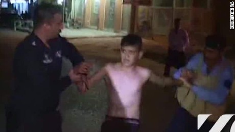 Kurdistan 24 has aired footage showing an alleged would-be child bomber in the city of Kirkuk being captured by security guards and what appears to be a suicide vest taken off his body.