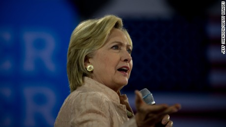 CLEVELAND, OH - AUGUST 17: Democratic presidential candidate Hillary Clinton speaks to supporters at a rally at John Marshall High School on August 17, 2016 in Cleveland, Ohio.  (Photo by Jeff Swensen/Getty Images)