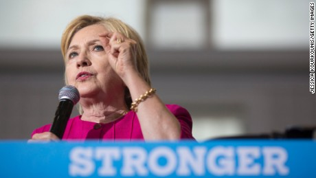 Democratic presidential nominee Hillary Clinton attends a voter registration event on August 16, 2016 at West Philadelphia High School in Philadelphia, Pennsylvania. Clinton warned voters not to be complacent and to work to get out the vote and maintain her lead.