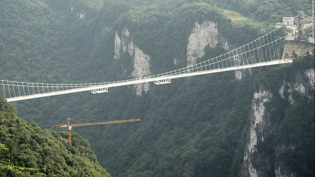 "The bridge spans two cliffs in Zhangjiajie Park, which is said to be the inspiration for the landscape in the sci-fi movie ""Avatar."""