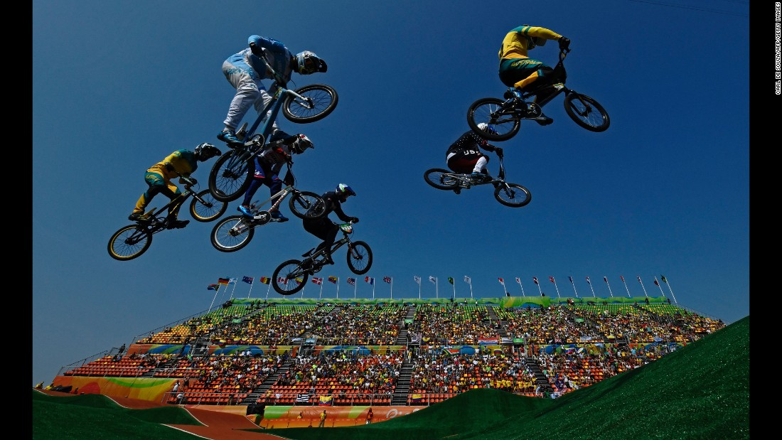 Riders compete in the BMX quarterfinals on Thursday, August 18.