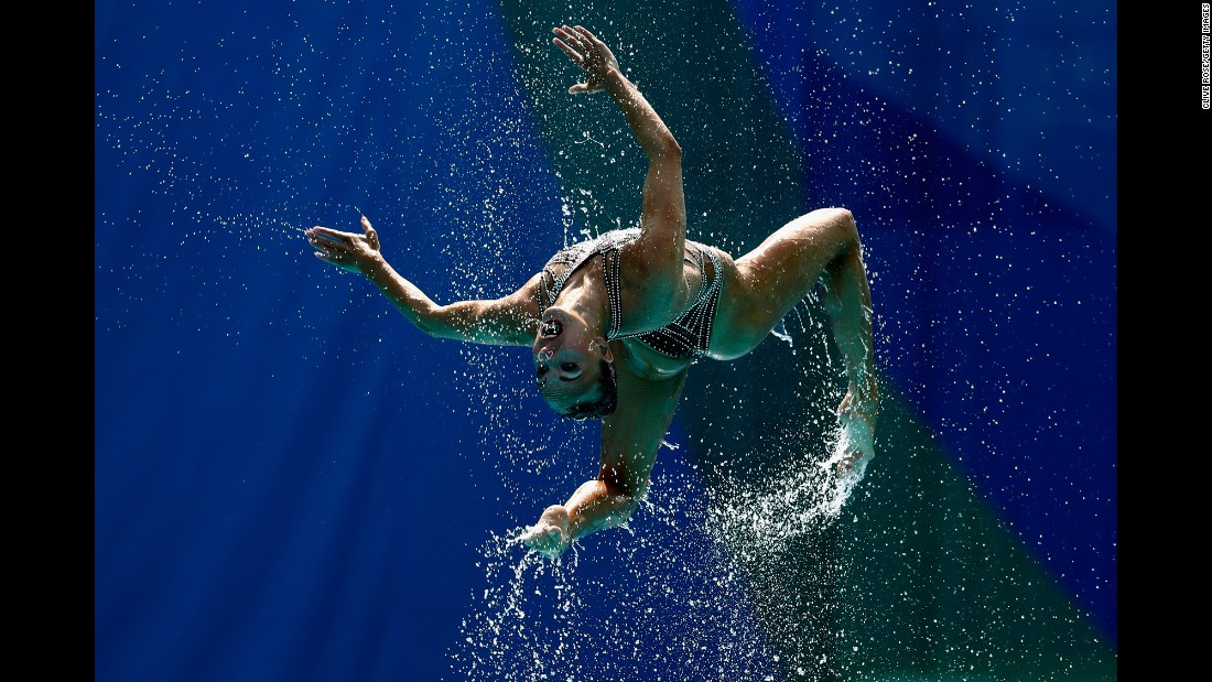 A synchronized swimmer from Russia takes part in the team's technical routine on Thursday, August 18. Russia won gold in both team and duet.