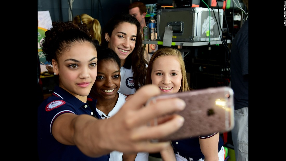 Gymnast Laurie Hernandez takes a selfie with three of her U.S. teammates -- from left, Simone Biles, Aly Raisman and Madison Kocian -- on Thursday, August 18. The four, along with Gabby Douglas, won all-around gold.