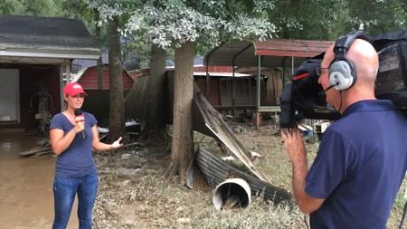 Meteorologist Jennifer Gray covers the flooding in Denham Springs, Louisiana.