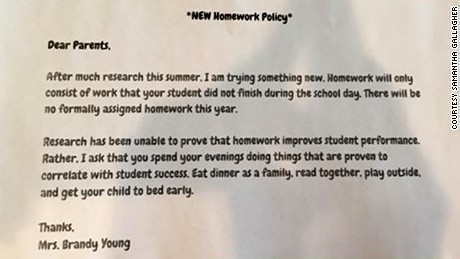 Texas teacher's no homework policy goes viral.