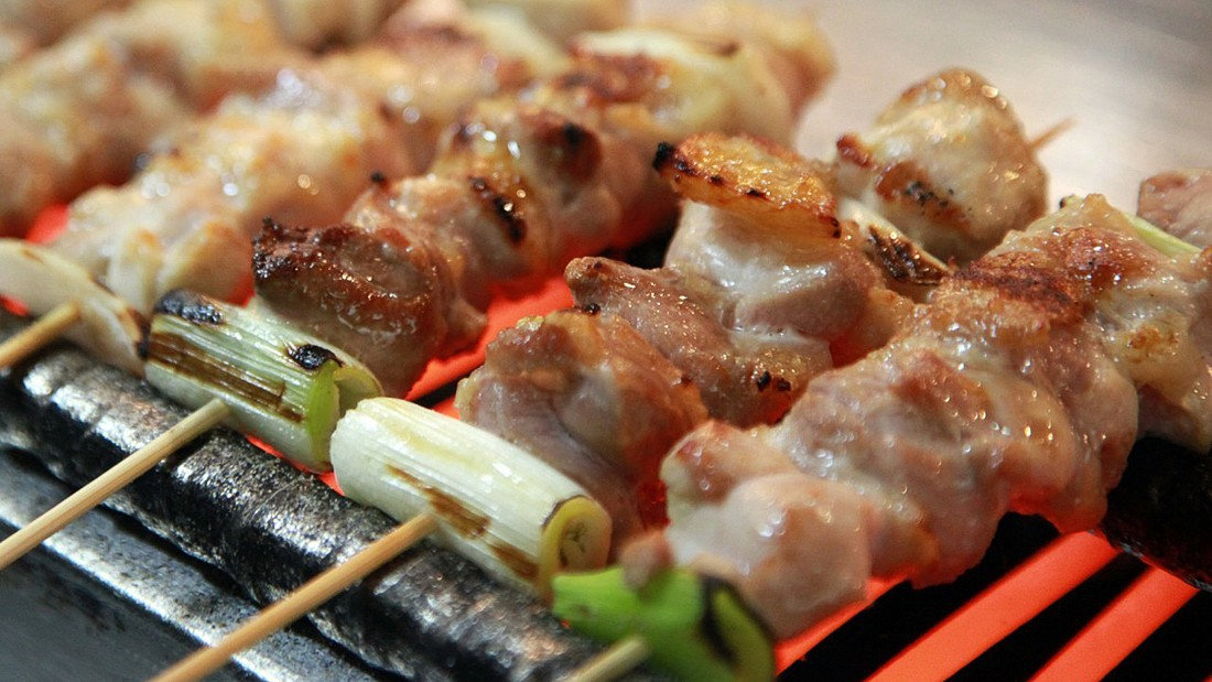 Traditionally, yakitori refers only to barbecued poultry skewers -- be it meat, offal or skin. However, the meaning of the term has widened to include vegetables and other meats.