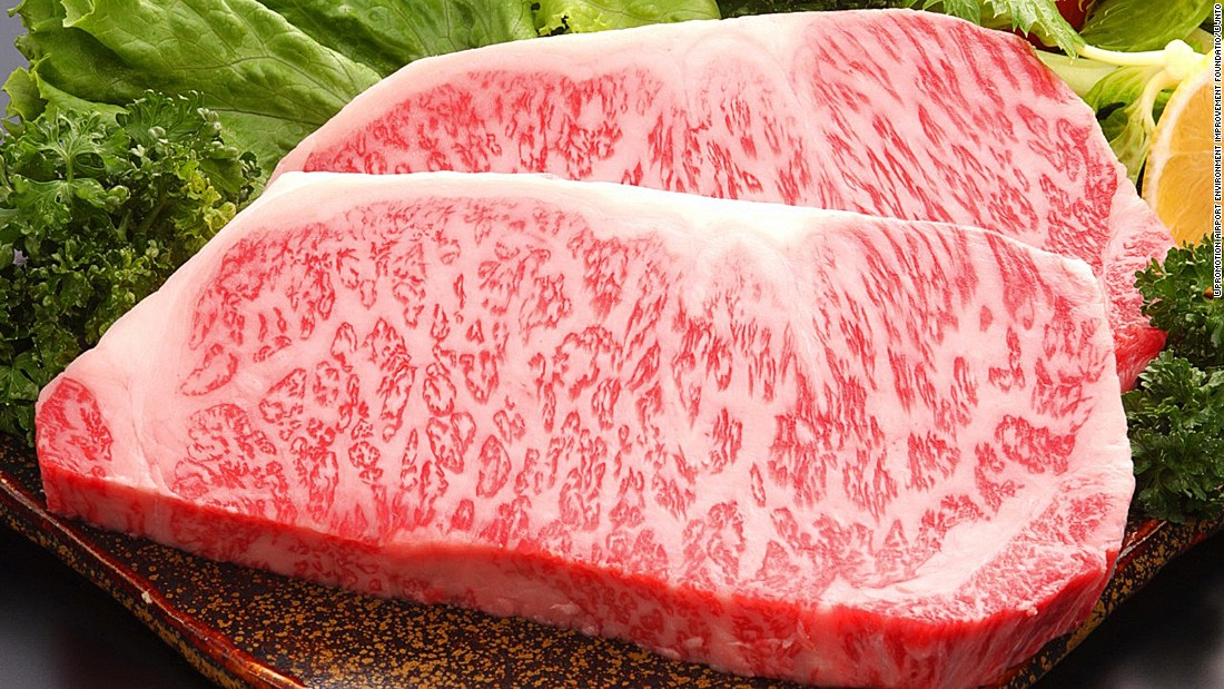 """Wagyu is known for its even and pervasive marbling. When cooked, it's buttery, meltingly tender and contains mostly monounsaturated fatty acids (aka """"the good fats"""")."""