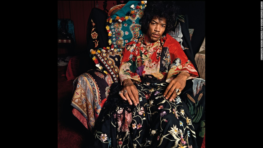 """Rock legend Jimi Hendrix poses for a photo for Sunday Times magazine. Famed photographer Terence Donovan shot this in August 1967, and it's just one of the many iconic images from his latest book, <a href=""""https://www.damianieditore.com/en-US/product/579"""" target=""""_blank"""">""""Terence Donovan: Portraits.""""</a>"""