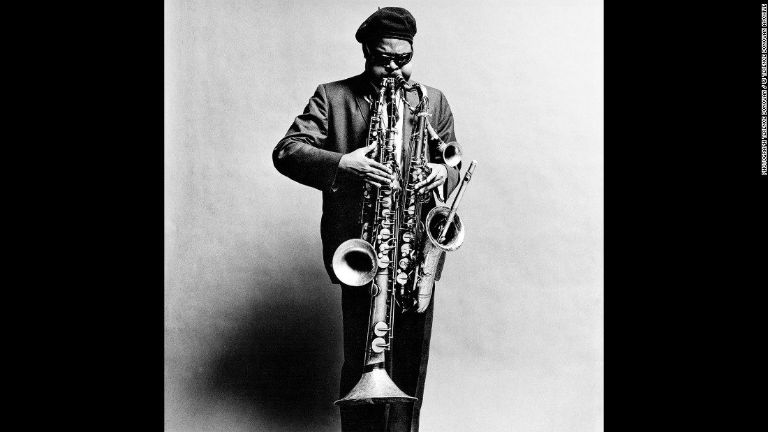 """Rahsaan Roland Kirk, a jazz multi-instrumentalist, in September 1963. During Donovan's career, the photographer was highly sought after for his obvious range and skill. """"He was completely and utterly dedicated to photography,"""" Diana Donovan said."""