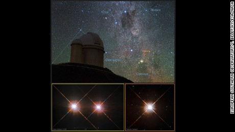 A view of the southern skies over the ESO 3.6-meter telescope at La Silla Observatory in Chile with images of the stars Proxima Centauri (lower right) and the double star Alpha Centauri AB (lower left).