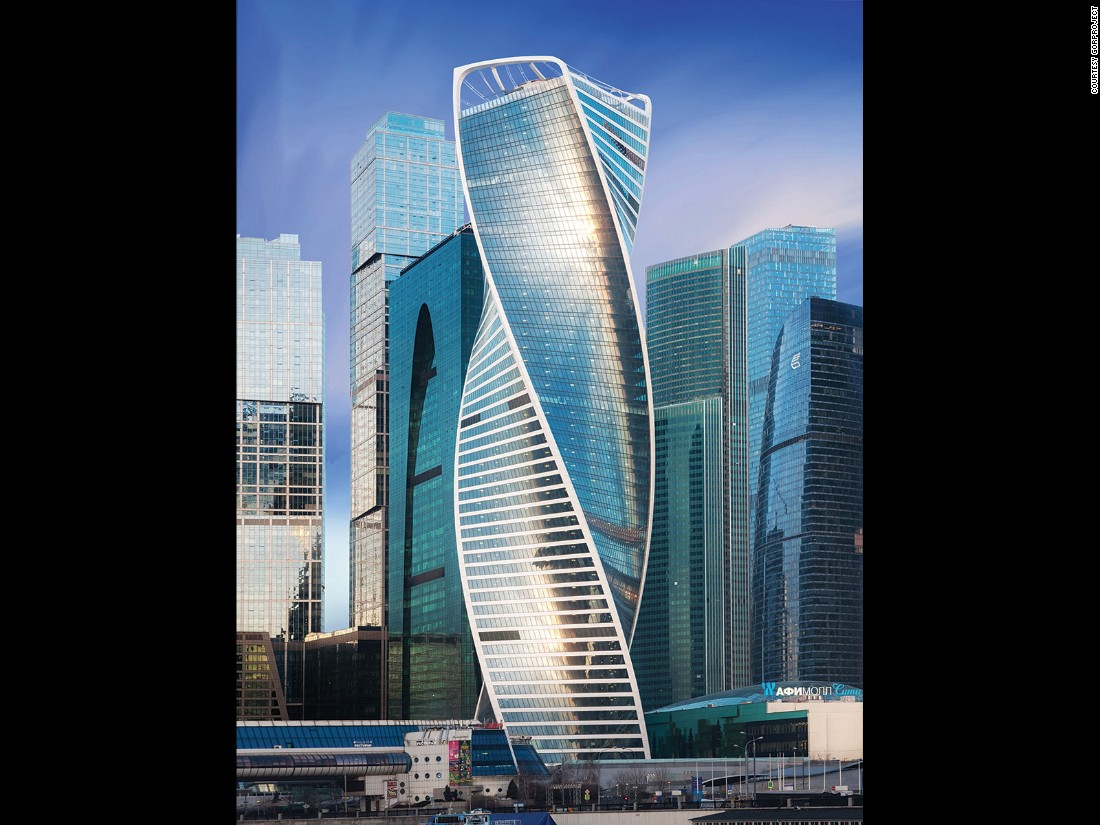 A white ribbon wraps around Moscow's stunning Evolution Tower, which topped out at 246 meters (807 feet) when completed in 2015.