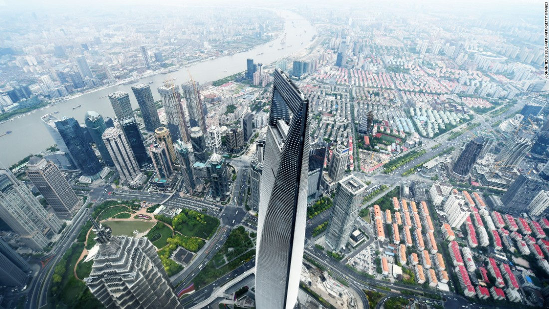 Skyscrapers in Shanghai symbolize a shift in global power dynamics. Here, the Shanghai World Financial Center is viewed from the Shanghai Tower -- the second tallest building in the world.