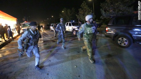 "Afghan security forces rush to respond to a complex Taliban attack on the campus of the American University in the Afghan capital Kabul on Wednesday, August. 24, 2016. ""We are trying to assess the situation,"" President Mark English told The Associated Press."