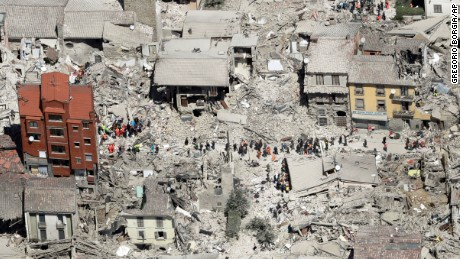 This aerial photo shows the damaged buildings in the town of Amatrice, central Italy, after an earthquake on August 24. The magnitude 6 quake struck at 3:36 a.m and was felt across a broad swath of central Italy.